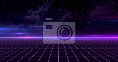 Fototapete Retro Sci-Fi Background Futuristic Grid landscape of the 80`s. Digital Cyber Surface. Suitable for design in the style of the 1980`s. 3D illustration