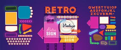 Fototapete Retro signboard creator. Set elements for street sign. Scene creator, neon sign. Retro font. Advertising space.