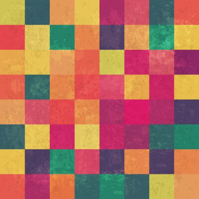 Fototapete Retro squary colorful vintage vector background