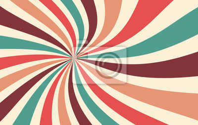 Fototapete retro starburst or sunburst background vector pattern with a vintage color palette of red pink peach teal blue brown and beige in a spiral or swirled radial striped design