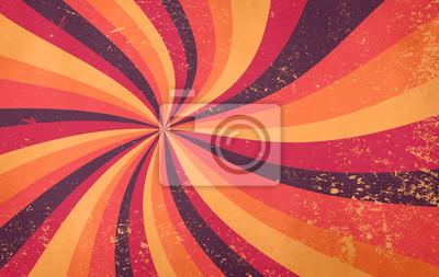 Fototapete retro starburst sunburst background pattern and grunge textured vintage autumn color palette of burgundy red pink peach orange yellow and purple brown in spiral or swirled radial striped design