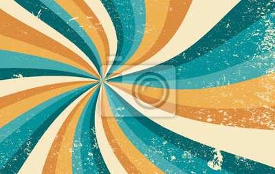 Fototapete retro starburst sunburst background pattern and grunge textured vintage color palette of orange yellow and blue green in spiral or swirled radial striped vector design