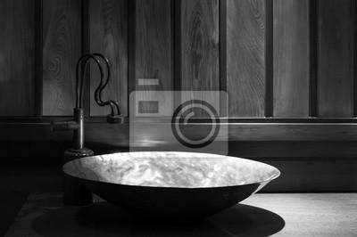 Retro-stil badezimmer, detailansicht der kupfer-waschbecken ...