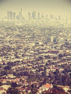 Fototapete Retro stilisierte Luftaufnahme von Los Angeles gesehen durch Smog, USA