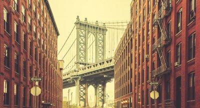 Fototapete Retro stilisierte Manhattan-Brücke gesehen von Dumbo, New York.