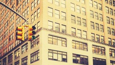 Fototapete Retro stilisiertes Foto der Ampeln in New York City, geringe Schärfentiefe.