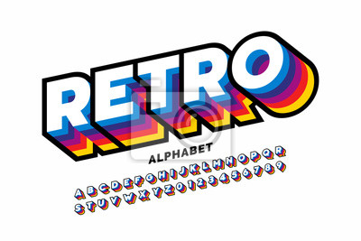 Fototapete Retro style colorful font design, alphabet letters and numbers