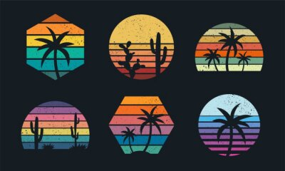 Fototapete Retro sunset collection 80s style. Striped colorful shapes with tropical palms and cacti