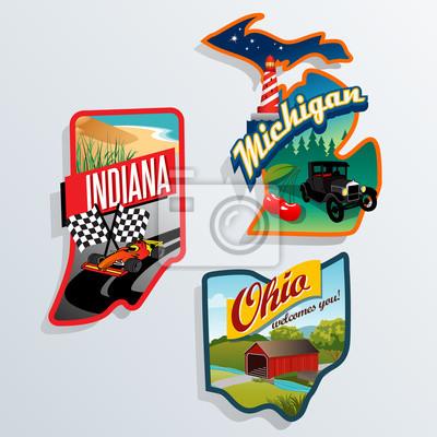retro US-Bundesstaat Indiana Illustrationen, Ohio, Michigan