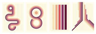 Fototapete retro vintage 70s style stripes background poster lines. shapes vector design graphic 1970s retro background. abstract stylish 70s era line frame illustration