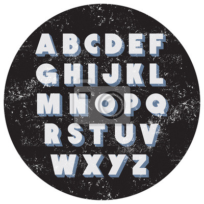 Retro vintage font type with dust and scrathes. Vector alphabet