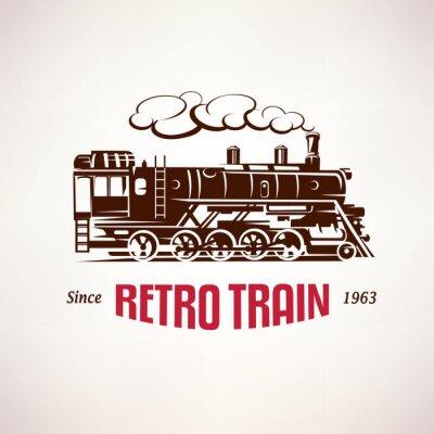 Fototapete Retro Zug, Jahrgang Vektor-Symbol, Emblem, Label-Vorlage