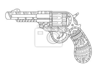 Revolver Pistole Färbung Buch Vektor-Illustration