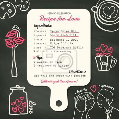 Rezeptkarte kreative hochzeit einladung design mit kochen konzept ...
