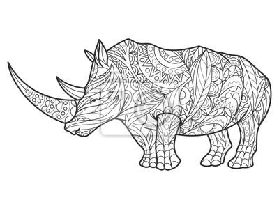 Rhinoceros Ausmalbilder für Erwachsene Vektor