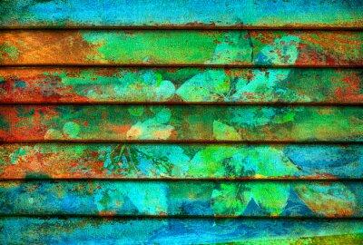 Fototapete rhythmische Serie Holz bunten Linien