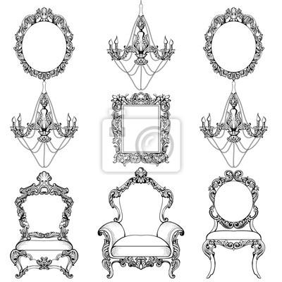 Fototapete Rich Barock Rococo Möbel Und Rahmen Set. Französisch Luxus  Geschnitzte Ornamente Kronleuchter Zubehör.