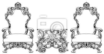 Fototapete Rich Barock Rococo Sessel Und Tischset. Französische Luxus  Geschnitzte Ornamente Möbel. Vector Viktorianischen