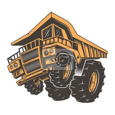 Fototapete Riesige aggressive Bau LKW auf Hinterräder. Isoliert auf weißem Hintergrund