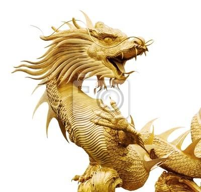 Riesige goldene chinesische Drache auf isolieren Hintergrund