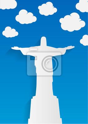 Rio De Janeiro Karte.Fototapete Rio De Janeiro Karte Mit Jesus Christusstatue