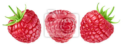 Fototapete Ripe raspberries collection isolated on white background