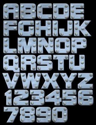 Riveted metallic Alphabet können Sie komponieren
