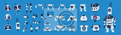 Fototapete Robot elements. Cartoon android character animation set, futuristic machine constructor with different poses. Vector isolated futuristic cybernetic objects on blue background