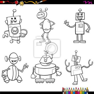 Robot zeichen malbuch fototapete • fototapeten künstliche ...
