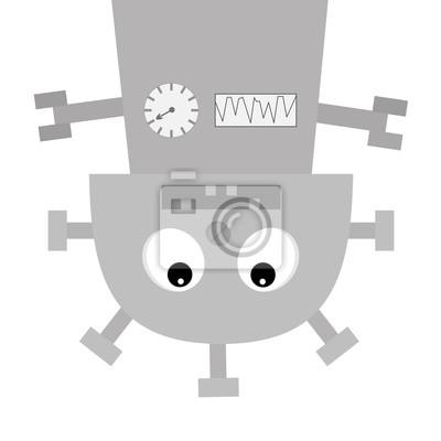 Roboter Körper kopfüber hängen. Schraubnase, Uhrherz, Mund mit Zahn. Niedliche Vintage Zeichentrickfigur. Graues Metall. Babysammlung. Flaches Design. Weißer Hintergrund. Isoliert.
