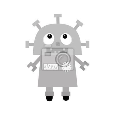 Roboter nachschlagen. Schraubnase, Uhrherz, Diagramm, offener Mund mit Zahn. Beine Rad. Niedliche Vintage Zeichentrickfigur. Graues Metall. Babysammlung. Flaches Design. Weißer Hintergrund. Isoliert.