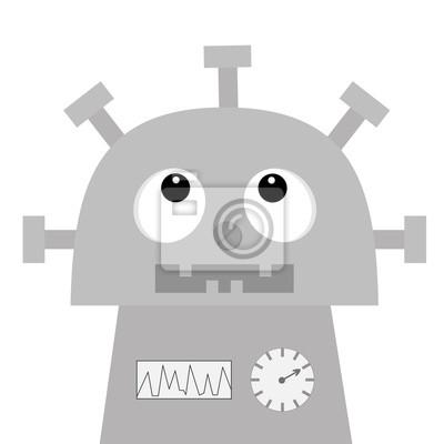 Roboter nachschlagen. Schraubnase, Uhrherz, Diagramm, offener Mund mit Zahn. Niedliche Vintage Zeichentrickfigur. Graues Metall. Babysammlung. Flaches Design. Weißer Hintergrund. Isoliert.
