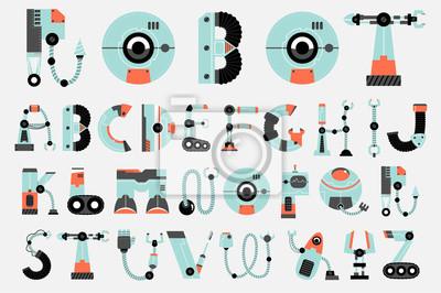 Fototapete Roboter Schrift Sammlung flaches Design
