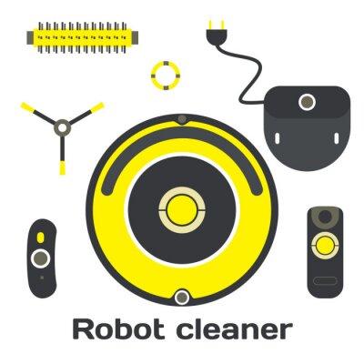 Roboter Staubsauger flachen Design. Vector set roboter reiniger ele