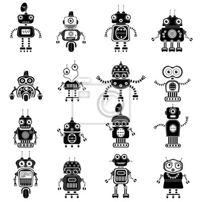 Roboter-Symbole, Mono-Vektor-Symbole. Vector Roboter Silhouetten eingestellt. Flache Design-Roboter und Cyborgs. Science-Fiction-Androide mit künstlicher Intelligenz. Eps10