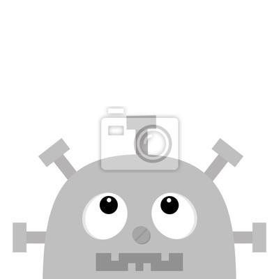 Roboterkopfgesicht nach oben. Schraubnase, Uhrherz, Diagramm, offener Mund mit Zahn. Niedliche Vintage Zeichentrickfigur. Graues Metall. Babysammlung. Flaches Design. Weißer Hintergrund. Isoliert.