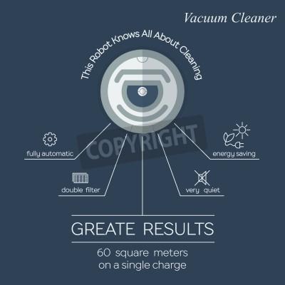 Robotic vacuum cleaner flat design. Vector promotion infographic