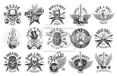 Fototapete Rock and roll emblems