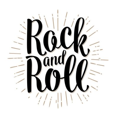Fototapete Rock and Roll Schriftzug mit Strahlen. Jahrgang Vektor