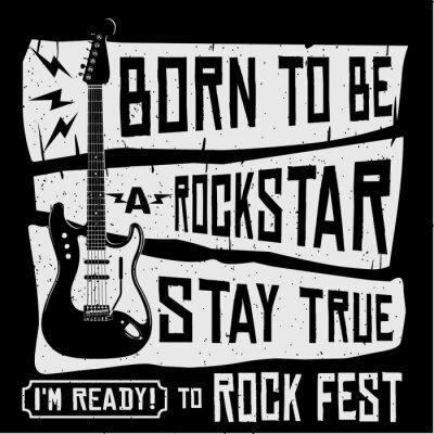 Fototapete Rock-Musik-Festival-vektor-T-Shirt oder Plakat-Illustration