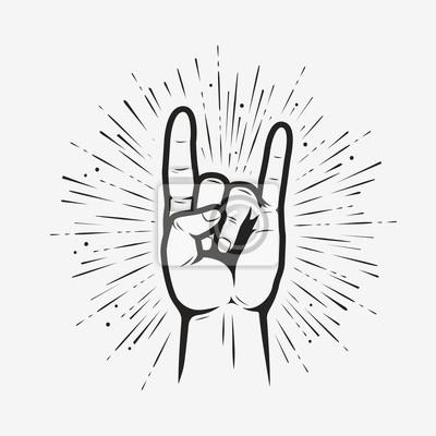 Fototapete Rock on gesture symbol. Heavy metal hand gesture vector illustration