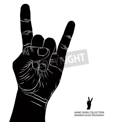 Fototapete Rock on hand sign, rock n roll, Hard Rock, Heavy Metal, Musik, detaillierte Schwarz-Weiß-Vektor-Illustration.