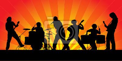 Rockband. Silhouetten von sechs Musikern. Vektor-Illustration.