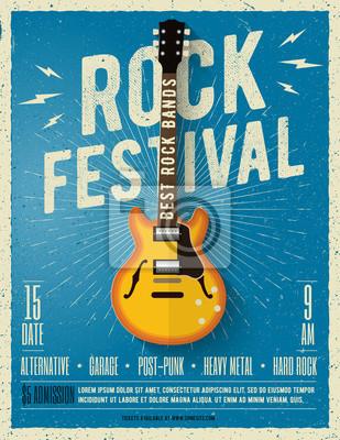 Fototapete Rockmusik-Festival-Flyer. Vektor-Illustration.