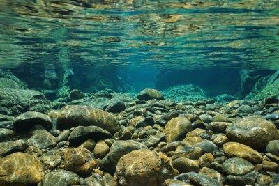 Fototapete Rocks Unterwasser auf Flussbett mit klarem Süßwasser, Dumbea Fluss, Grande Terre, Neukaledonien