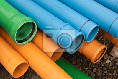 Bekannt Rohre aus kunststoff - pp-rohr - in orange, blau und grün QT28