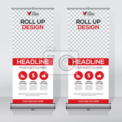 Roll-up-banner-design-vorlage, abstrakten hintergrund, pull-up ...