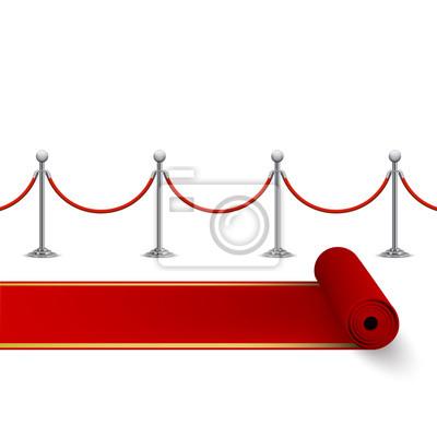 Rolled Roten Teppich Und Zaun Mit Metall Rungen Vektor Isoliert