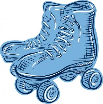 Fototapete Roller Skates Vintage Etching