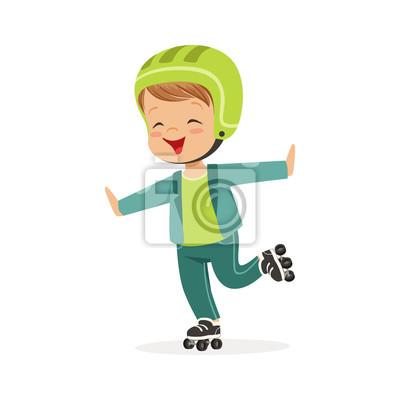 Roller Skating Junge Kind In Rollerblades Bunte Zeichen Vektor